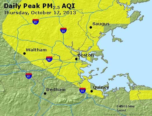 Peak Particles PM<sub>2.5</sub> (24-hour) - http://files.airnowtech.org/airnow/2013/20131017/peak_pm25_boston_ma.jpg