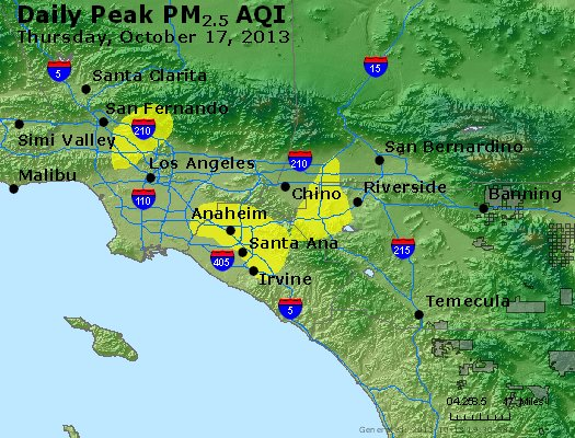 Peak Particles PM<sub>2.5</sub> (24-hour) - http://files.airnowtech.org/airnow/2013/20131017/peak_pm25_losangeles_ca.jpg