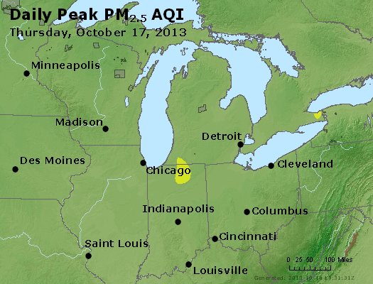 Peak Particles PM<sub>2.5</sub> (24-hour) - http://files.airnowtech.org/airnow/2013/20131017/peak_pm25_mi_in_oh.jpg