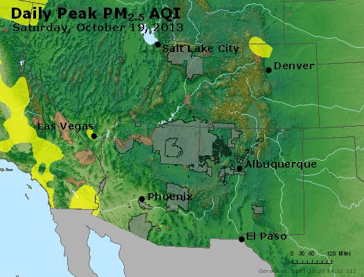 Peak Particles PM<sub>2.5</sub> (24-hour) - http://files.airnowtech.org/airnow/2013/20131019/peak_pm25_co_ut_az_nm.jpg
