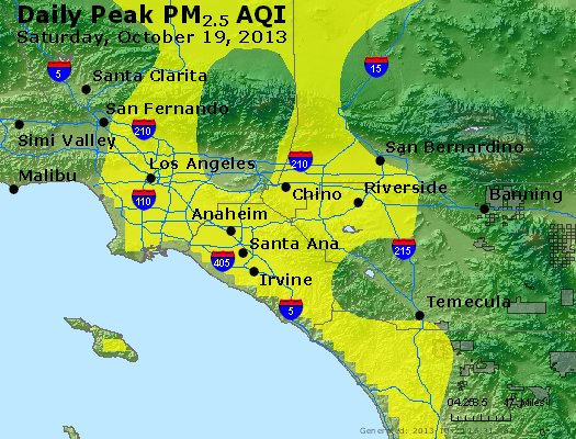 Peak Particles PM<sub>2.5</sub> (24-hour) - http://files.airnowtech.org/airnow/2013/20131019/peak_pm25_losangeles_ca.jpg