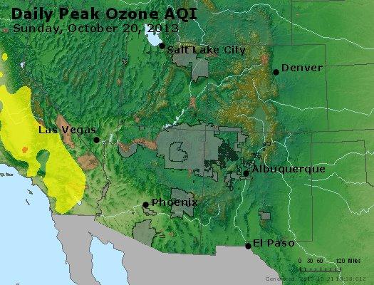 Peak Ozone (8-hour) - http://files.airnowtech.org/airnow/2013/20131020/peak_o3_co_ut_az_nm.jpg