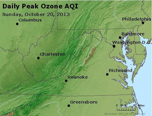 Peak Ozone (8-hour) - http://files.airnowtech.org/airnow/2013/20131020/peak_o3_va_wv_md_de_dc.jpg