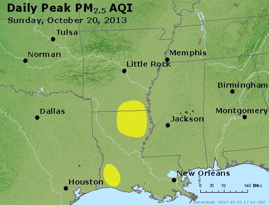 Peak Particles PM<sub>2.5</sub> (24-hour) - http://files.airnowtech.org/airnow/2013/20131020/peak_pm25_ar_la_ms.jpg