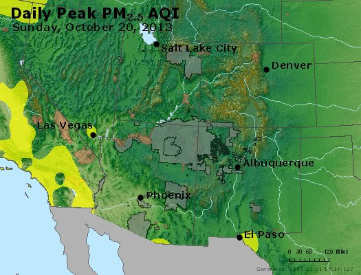 Peak Particles PM<sub>2.5</sub> (24-hour) - http://files.airnowtech.org/airnow/2013/20131020/peak_pm25_co_ut_az_nm.jpg