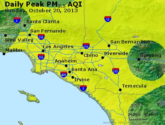 Peak Particles PM<sub>2.5</sub> (24-hour) - http://files.airnowtech.org/airnow/2013/20131020/peak_pm25_losangeles_ca.jpg