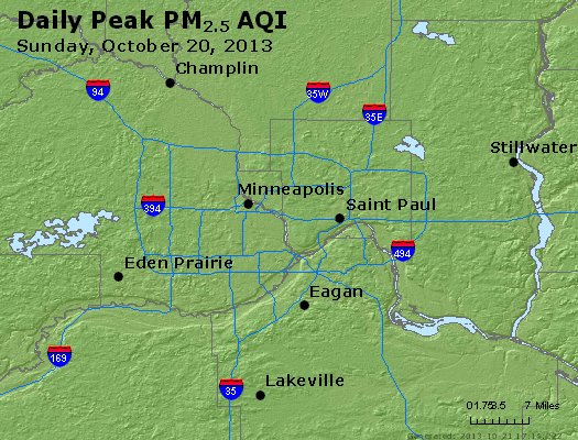Peak Particles PM<sub>2.5</sub> (24-hour) - http://files.airnowtech.org/airnow/2013/20131020/peak_pm25_minneapolis_mn.jpg