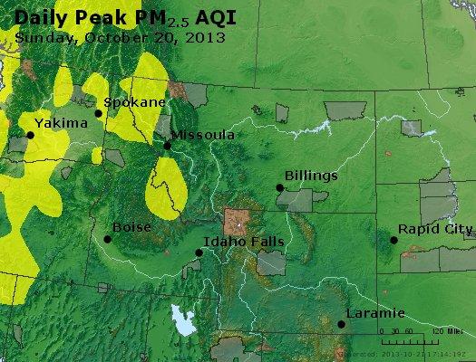 Peak Particles PM<sub>2.5</sub> (24-hour) - http://files.airnowtech.org/airnow/2013/20131020/peak_pm25_mt_id_wy.jpg
