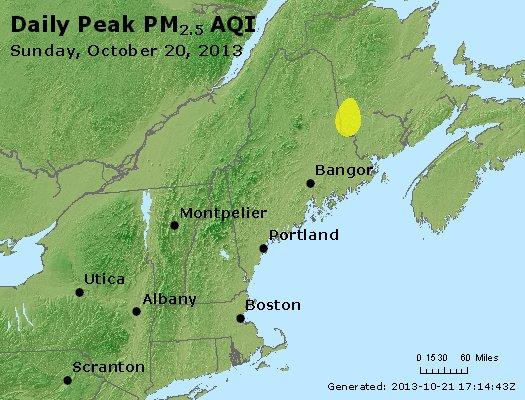 Peak Particles PM<sub>2.5</sub> (24-hour) - http://files.airnowtech.org/airnow/2013/20131020/peak_pm25_vt_nh_ma_ct_ri_me.jpg