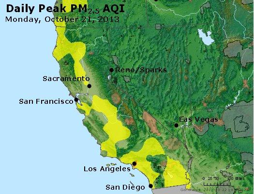 Peak Particles PM<sub>2.5</sub> (24-hour) - http://files.airnowtech.org/airnow/2013/20131021/peak_pm25_ca_nv.jpg