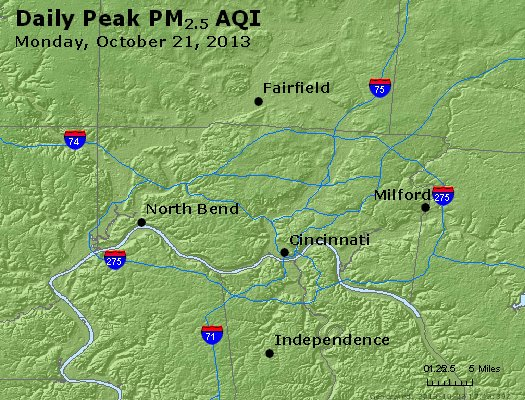 Peak Particles PM<sub>2.5</sub> (24-hour) - http://files.airnowtech.org/airnow/2013/20131021/peak_pm25_cincinnati_oh.jpg