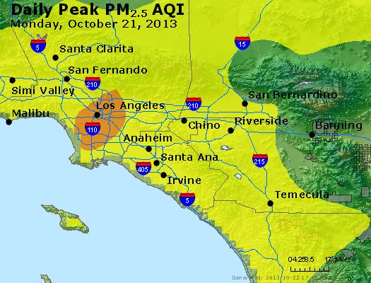Peak Particles PM<sub>2.5</sub> (24-hour) - http://files.airnowtech.org/airnow/2013/20131021/peak_pm25_losangeles_ca.jpg