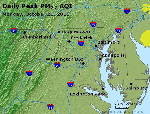 Peak Particles PM<sub>2.5</sub> (24-hour) - http://files.airnowtech.org/airnow/2013/20131021/peak_pm25_maryland.jpg