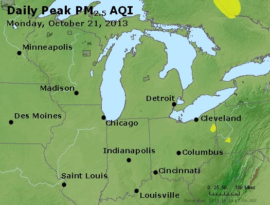 Peak Particles PM<sub>2.5</sub> (24-hour) - http://files.airnowtech.org/airnow/2013/20131021/peak_pm25_mi_in_oh.jpg