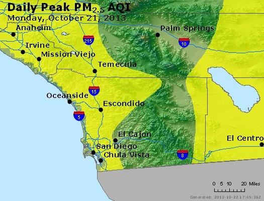 Peak Particles PM<sub>2.5</sub> (24-hour) - http://files.airnowtech.org/airnow/2013/20131021/peak_pm25_sandiego_ca.jpg