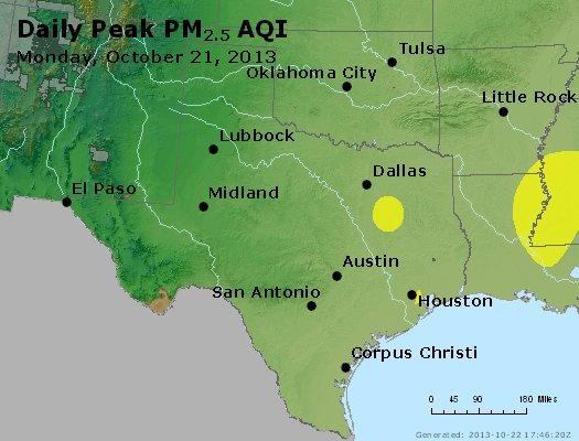 Peak Particles PM<sub>2.5</sub> (24-hour) - http://files.airnowtech.org/airnow/2013/20131021/peak_pm25_tx_ok.jpg