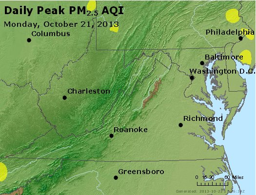 Peak Particles PM<sub>2.5</sub> (24-hour) - http://files.airnowtech.org/airnow/2013/20131021/peak_pm25_va_wv_md_de_dc.jpg