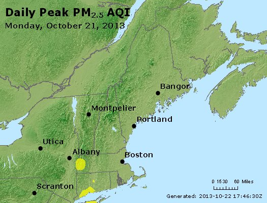 Peak Particles PM<sub>2.5</sub> (24-hour) - http://files.airnowtech.org/airnow/2013/20131021/peak_pm25_vt_nh_ma_ct_ri_me.jpg