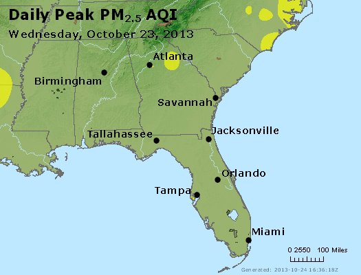 Peak Particles PM<sub>2.5</sub> (24-hour) - http://files.airnowtech.org/airnow/2013/20131023/peak_pm25_al_ga_fl.jpg