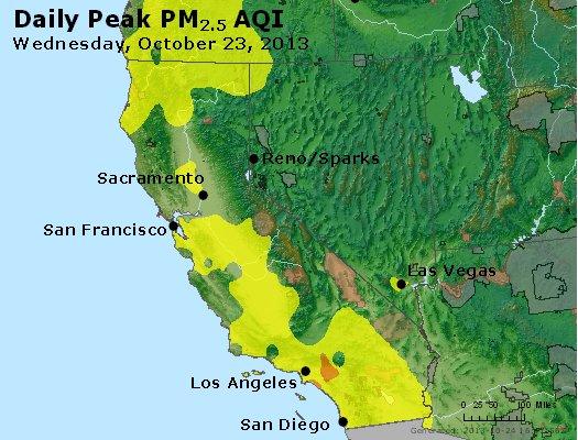 Peak Particles PM<sub>2.5</sub> (24-hour) - http://files.airnowtech.org/airnow/2013/20131023/peak_pm25_ca_nv.jpg