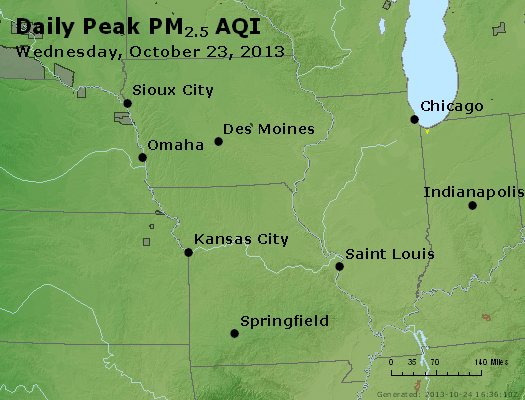 Peak Particles PM<sub>2.5</sub> (24-hour) - http://files.airnowtech.org/airnow/2013/20131023/peak_pm25_ia_il_mo.jpg
