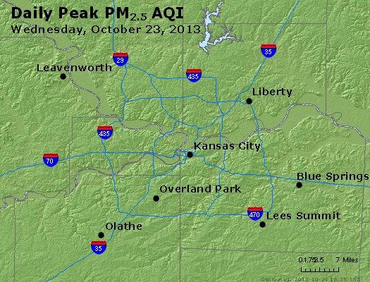 Peak Particles PM<sub>2.5</sub> (24-hour) - http://files.airnowtech.org/airnow/2013/20131023/peak_pm25_kansascity_mo.jpg