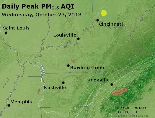Peak Particles PM<sub>2.5</sub> (24-hour) - http://files.airnowtech.org/airnow/2013/20131023/peak_pm25_ky_tn.jpg