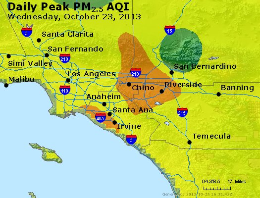 Peak Particles PM<sub>2.5</sub> (24-hour) - http://files.airnowtech.org/airnow/2013/20131023/peak_pm25_losangeles_ca.jpg