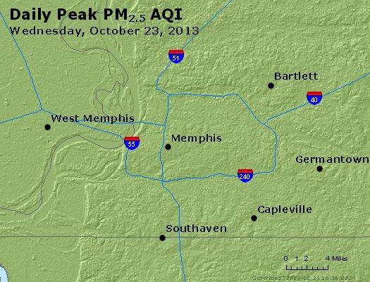 Peak Particles PM<sub>2.5</sub> (24-hour) - http://files.airnowtech.org/airnow/2013/20131023/peak_pm25_memphis_tn.jpg