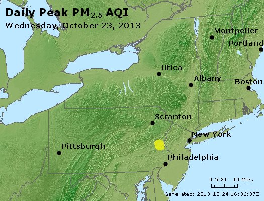 Peak Particles PM<sub>2.5</sub> (24-hour) - http://files.airnowtech.org/airnow/2013/20131023/peak_pm25_ny_pa_nj.jpg