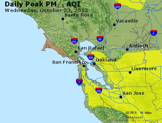 Peak Particles PM<sub>2.5</sub> (24-hour) - http://files.airnowtech.org/airnow/2013/20131023/peak_pm25_sanfrancisco_ca.jpg