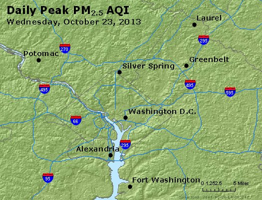 Peak Particles PM<sub>2.5</sub> (24-hour) - http://files.airnowtech.org/airnow/2013/20131023/peak_pm25_washington_dc.jpg
