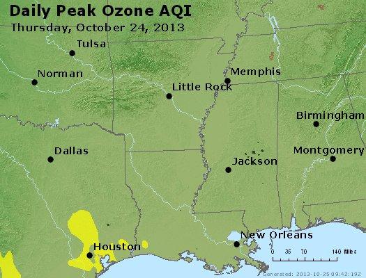 Peak Ozone (8-hour) - http://files.airnowtech.org/airnow/2013/20131024/peak_o3_ar_la_ms.jpg