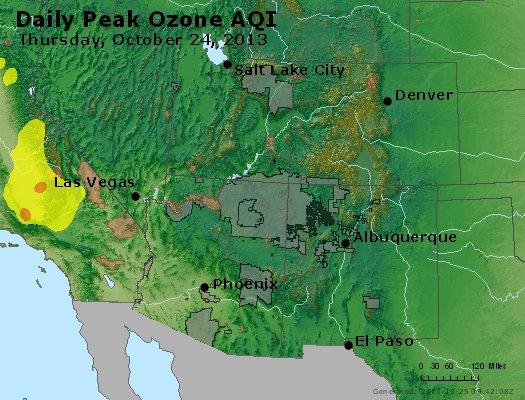 Peak Ozone (8-hour) - http://files.airnowtech.org/airnow/2013/20131024/peak_o3_co_ut_az_nm.jpg