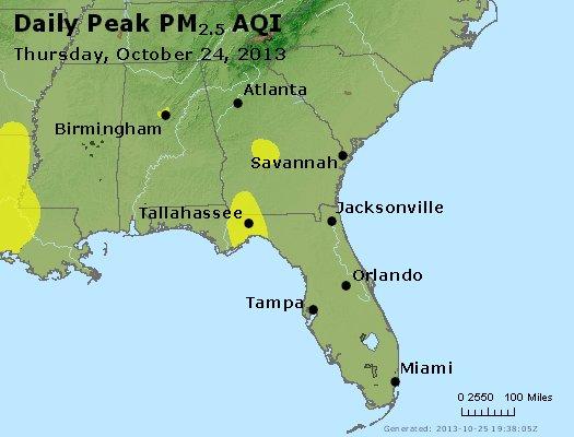 Peak Particles PM<sub>2.5</sub> (24-hour) - http://files.airnowtech.org/airnow/2013/20131024/peak_pm25_al_ga_fl.jpg