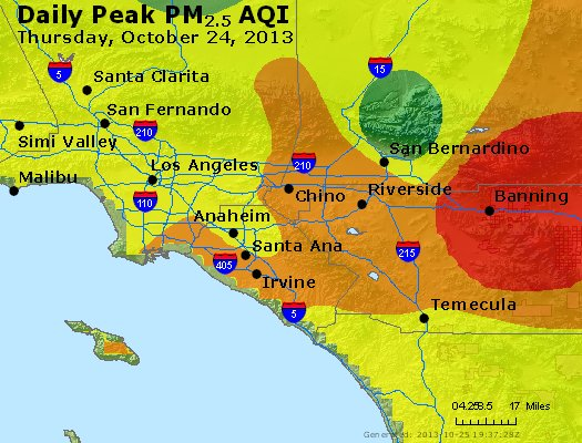 Peak Particles PM<sub>2.5</sub> (24-hour) - http://files.airnowtech.org/airnow/2013/20131024/peak_pm25_losangeles_ca.jpg