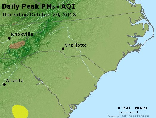Peak Particles PM<sub>2.5</sub> (24-hour) - http://files.airnowtech.org/airnow/2013/20131024/peak_pm25_nc_sc.jpg