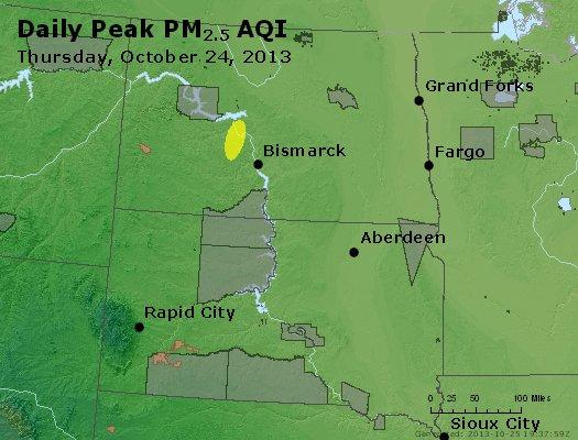 Peak Particles PM<sub>2.5</sub> (24-hour) - http://files.airnowtech.org/airnow/2013/20131024/peak_pm25_nd_sd.jpg