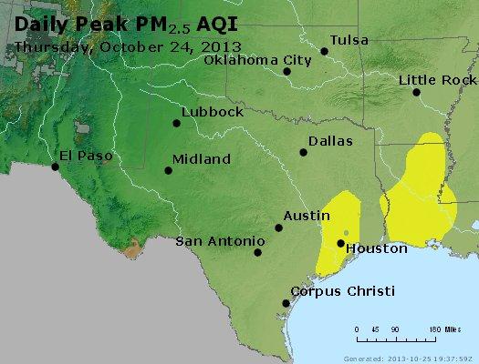 Peak Particles PM<sub>2.5</sub> (24-hour) - http://files.airnowtech.org/airnow/2013/20131024/peak_pm25_tx_ok.jpg