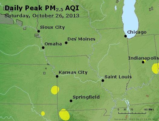 Peak Particles PM<sub>2.5</sub> (24-hour) - http://files.airnowtech.org/airnow/2013/20131026/peak_pm25_ia_il_mo.jpg