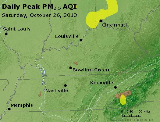 Peak Particles PM<sub>2.5</sub> (24-hour) - http://files.airnowtech.org/airnow/2013/20131026/peak_pm25_ky_tn.jpg