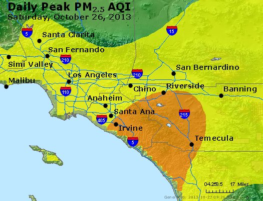 Peak Particles PM<sub>2.5</sub> (24-hour) - http://files.airnowtech.org/airnow/2013/20131026/peak_pm25_losangeles_ca.jpg