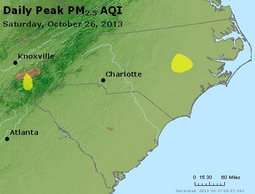 Peak Particles PM<sub>2.5</sub> (24-hour) - http://files.airnowtech.org/airnow/2013/20131026/peak_pm25_nc_sc.jpg