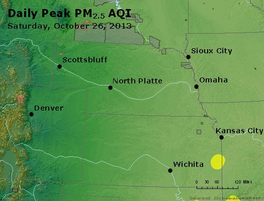 Peak Particles PM<sub>2.5</sub> (24-hour) - http://files.airnowtech.org/airnow/2013/20131026/peak_pm25_ne_ks.jpg