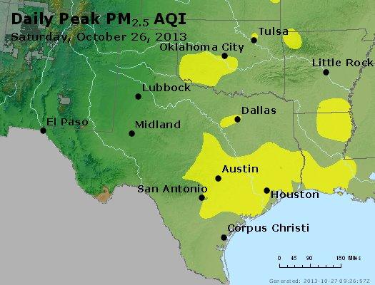 Peak Particles PM<sub>2.5</sub> (24-hour) - http://files.airnowtech.org/airnow/2013/20131026/peak_pm25_tx_ok.jpg