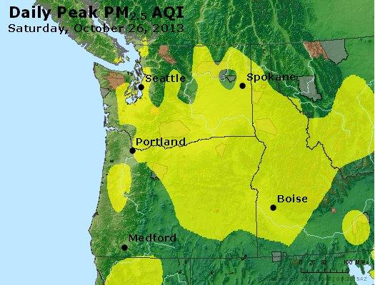 Peak Particles PM<sub>2.5</sub> (24-hour) - http://files.airnowtech.org/airnow/2013/20131026/peak_pm25_wa_or.jpg