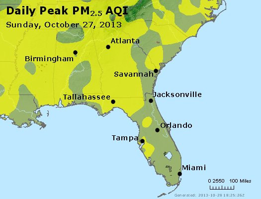 Peak Particles PM<sub>2.5</sub> (24-hour) - http://files.airnowtech.org/airnow/2013/20131027/peak_pm25_al_ga_fl.jpg