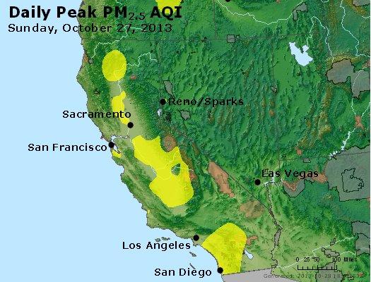 Peak Particles PM<sub>2.5</sub> (24-hour) - http://files.airnowtech.org/airnow/2013/20131027/peak_pm25_ca_nv.jpg