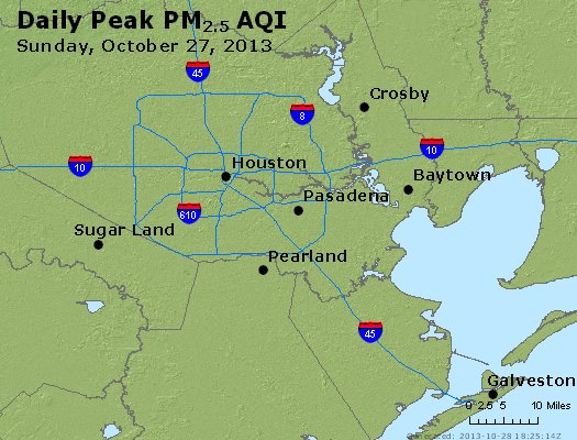Peak Particles PM<sub>2.5</sub> (24-hour) - http://files.airnowtech.org/airnow/2013/20131027/peak_pm25_houston_tx.jpg