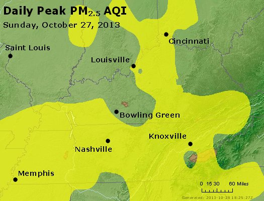 Peak Particles PM<sub>2.5</sub> (24-hour) - http://files.airnowtech.org/airnow/2013/20131027/peak_pm25_ky_tn.jpg
